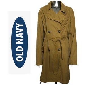 Old Navy Cotton Trench Coat Brown Double Breasted